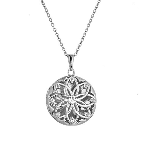 Sterling Silver-White Topaz-Custom Photo Locket Necklace-18-inch Chain-The Helen by With You - You Custom