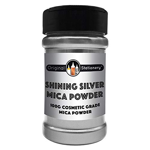 Shining Silver Mica Powder - 3.5 Ounces / 100 Grams [Huge x3-5 The Size of Our COMPETITORS] Cosmetic Grade – True Color – Beautiful Mica for Soap Making, Bath Bombs, Make-up, Nails