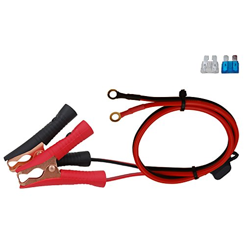 CUZEC 1.6ft / 0.5m 16 AWG Extension Cord Eyelet Terminal with Clamp 12V/ 24V Battery Clip-On For High-power inverter and More