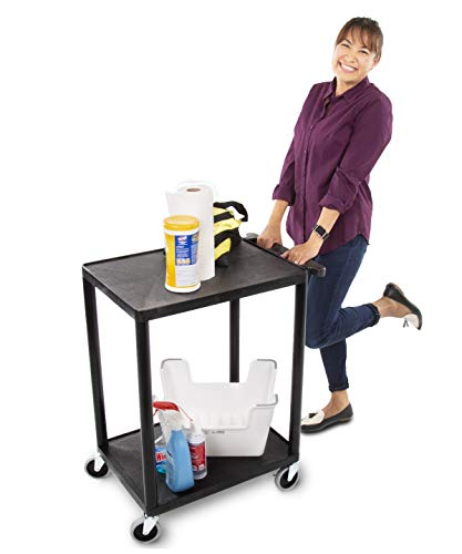 Original Tubstr - Flat Top Utility Cart/Service Cart - Compact, 24 x 18 Inches - Heavy Duty, Supports up to 300 lbs! | Lipped Shelf Cart - Great for Warehouse, Garage, Cleaning & More!