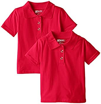 Genuine Big Girls' 2 Pack Polo Shirt, Engine Red-PLHH, 7