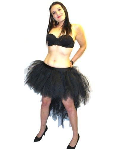 UV Non 7 couches Pointe longue jupe Tutu de Paon Noir
