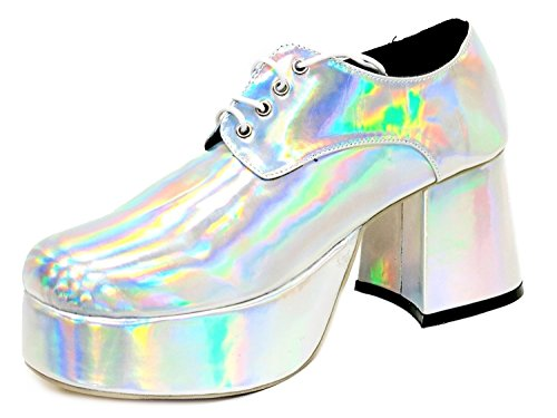 Retro Plattform Schuhe Schuhe Fancy Dress Disco Platform 70's Silber 0w1qAI