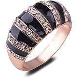 NEW Zebra-stripe Design Rhinestone 18K Rose Gold Plated Enamel Ring Gift LOVE STORY (8#)