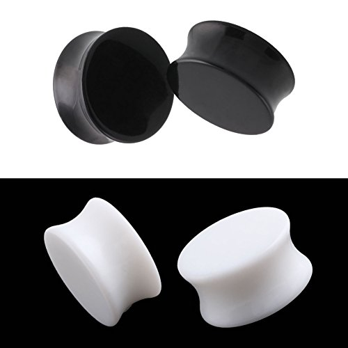 HQLA 2 Pairs White/Black Acrylic Ear Plugs Flesh Tunnels Double flared Expander Stretcher Piercing Jewelry (9/16(14mm)) (Flesh Tunnel Ear Plugs Acrylic)