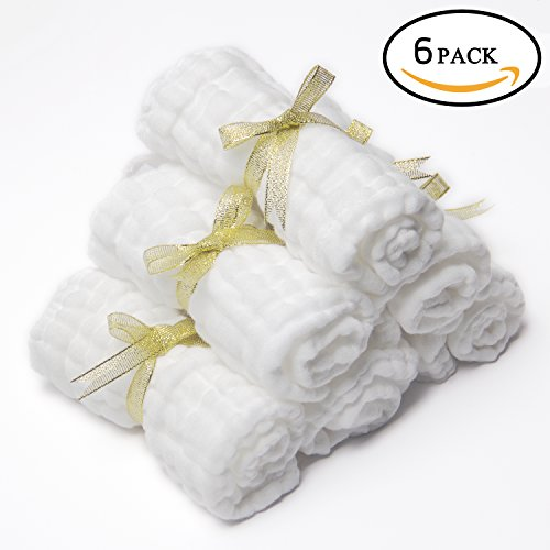 Healthy-Home Muslin Baby Washcloths and Bath Towels. (6 Pack, 12''12'') 100% Premium Natural Cotton,Chemical Free,Reusable Wipes,Extra Soft and Absorbent for Sensitive Baby Skin.