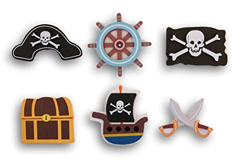 Natural Wood Painted Pirate Themed Cutouts - 6 Piece Assortment