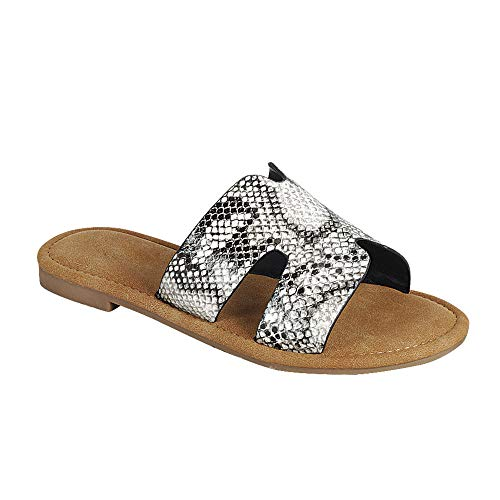 TheRightPair Women's Open Toe Silp On Flat Sandals with Notch Cut-Outs Summer Slides Slippers PT09 Grey Blk Snake 6.5