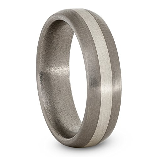 Satin Brushed Titanium, Sterling Silver 6mm Comfort-Fit Dome Wedding Band, Size 11 by The Men's Jewelry Store (Unisex Jewelry)