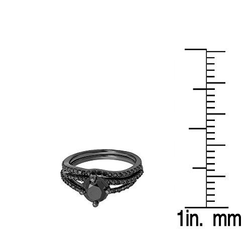 1.35 Carat (Ctw) Black Rhodium Plated Silver Black Diamond Ladies Bridal Engagement Ring Set (Size 6.5) by DazzlingRock Collection (Image #3)