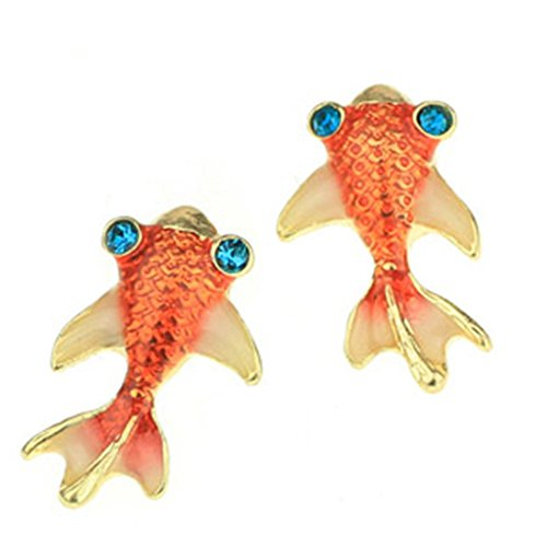 (Mural Art Under the Sea Orange Carp Koi Gold Fish Goldfish Stud Earrings )