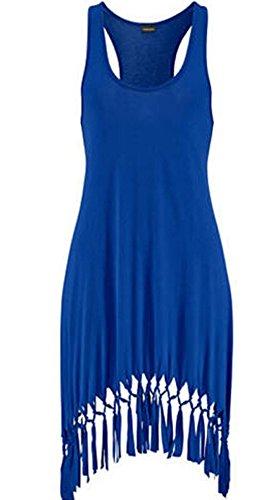 Line Scoop Neck - Faithtur Women Sexy A-line Scoop Neck Mini Tank Dress with Fringed Hem (Label S, Blue)