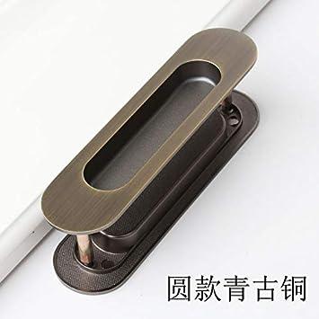 ZTZT Tirador de la puerta corredera tiradores integrados en línea puerta oculta puerta corredera de madera invisible invisible, redondo verde bronce: Amazon.es: Bricolaje y herramientas