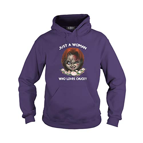 Unisex Just A Woman Who Loves Chucky Hoodie (L, Purple)