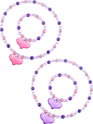 Zhanmai Kids Jewelry Set Lovely Princess Necklace Bracelet Set Girls Heart Beads Jewelry Set Toddler Dress Up Jewelry Party -