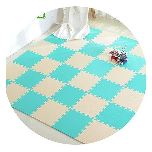 Fall In Love Baby Play Mat EVA Foam Children's Mat Puzzle Mat Interlocking Exercise Tiles Floor Carpet Rug for Kids Crawling 30X30X1cm Joint,Beige-GreenBlue,30x30x1cm 18pcs