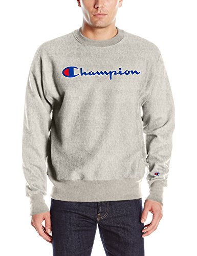 Champion LIFE Men's Reverse Weave Crew, Oxford Gray Logo, S ()