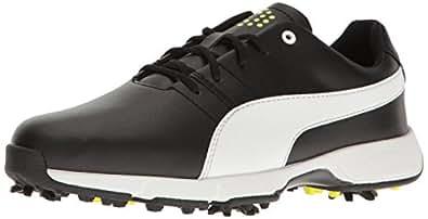 Puma Golf Unisex-Kids Titantour Cleated JR. Golf-Shoes, Puma Black-Puma White-Safety Yellow, 2 Medium Youth US Big Kid