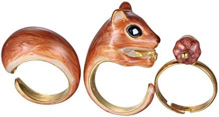 Rinhoo 3Pcs Stack Rings Cute Squirrel Open Joint Knuckle Nail Ring Set