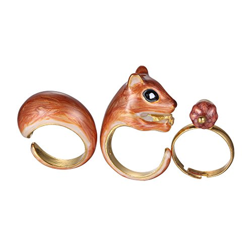 Rinhoo 3Pcs Vintage Stack Rings Cute Squirrel Open Knuckle Joint Nail Ring Set(Squirrel)