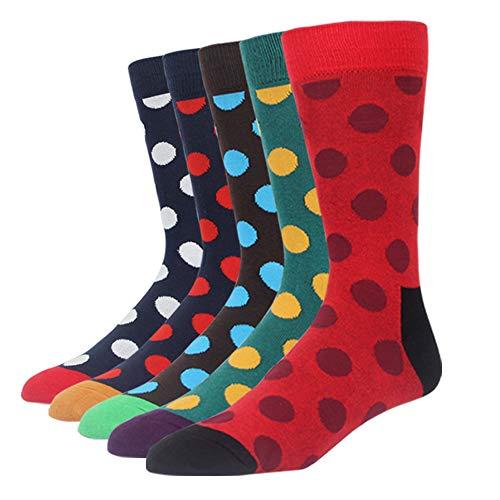 Mens Polka Dot - SOXART Men's Dress Socks 5-Pack Colorful Polka Dot Multi Fun Style for L:US Shoe Size 8-12 / Sock Size 10-13