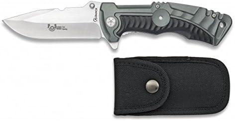 Dimensione del foglio 8,7 cm Caccia Coltello da tasca assistito grigio Impugnatura in alluminio ALBAINOX 19843-A