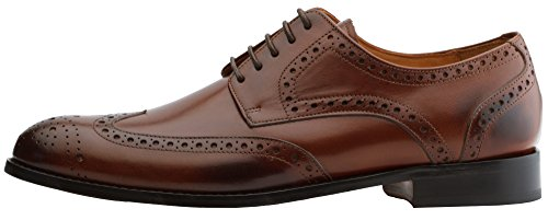3dm Lifestyle Handcrafted Para Hombre De Cuero Genuino Classic Brogue Derby Wing-tip Lace Up Forrado De Cuero Para Vestido Oxfords Zapatos Brown