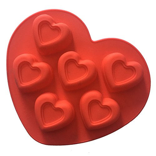 FantasyDay 6 Cavity Heart Pudding Mold Silicone Baking Molds for Your Birthday Cake, Soap, Bread, Chocolate, Muffin, Brownie, Cornbread, Cheesecake, Panna Cotta, Pudding, Jello Shot and More #6 ()
