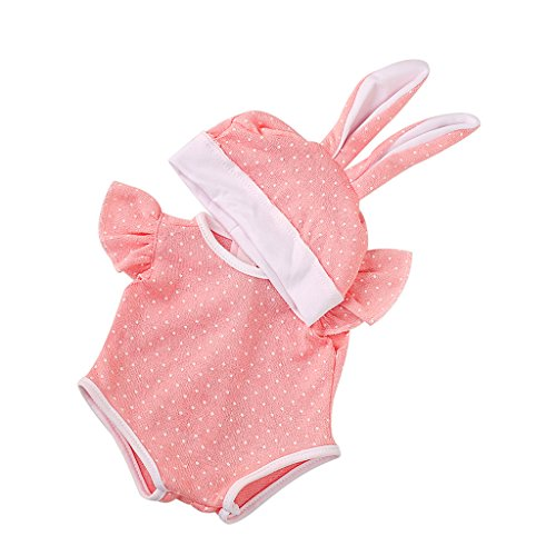 MagiDeal Pink Dots Jumpsuit + Rabbit Hat Clothes Pajamas Outfit for 43/45cm Zapf Baby Born Doll (Baby Clothes Born)