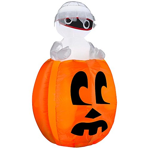 Inflatable Mummy Pops in Pumpkin 4 Foot Animated Airblown Halloween Indoor Outdoor Decoration Fright Scary Fun - Pumpkin Halloween Pops