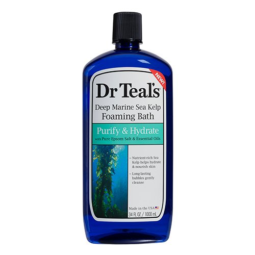(Dr Teal's Sea Kelp Foaming Bath with Epsom Salt, Purify & Hydrate 34 oz (Pack of)