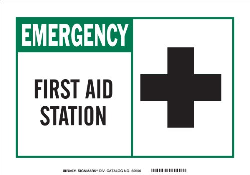 "UPC 754473464820, Brady 46482 Aluminum, 7"" X 10"" Emergency Sign Legend, ""First Aid Station (W/Picto)"""