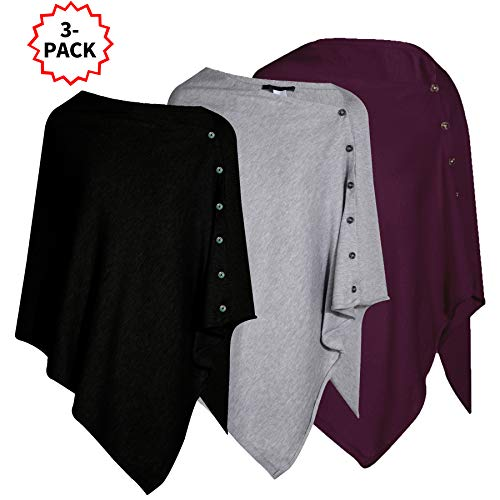 Pack of 3 Womens Versatile Knitted Scarf with Buttons Light Weight Spring Summer Autumn Shawl Poncho Cape Cardigan, Black/Grey/Wine