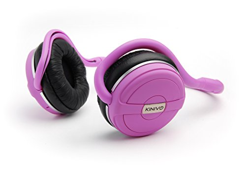 Kinivo BTH240-PINK Bluetooth Stereo Headphone Supports Wireless Music Streaming and Hands-Free calling - Posh Pink