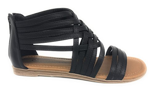 City Flat - Womens Gladiator Ankle Open Criss Cross Toe Sandals Closer (9 B(M) US, Black)