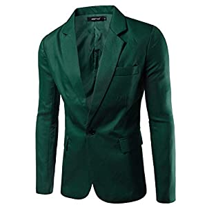 elegantstunning Men Slim Single button Lapel Suit Simple Solid Color Large Size Casual Blazer Coat