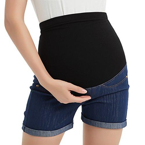 GINKANA High Waist Maternity Denim Shorts Cotton Summer Over Belly Pregnancy Shorts Linen Pants by GINKANA (Image #2)