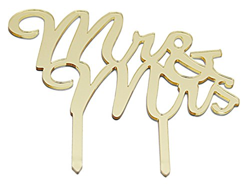 Gold Monogram Wedding Cake Topper - Mr & Mrs Golden Monogrammed Silhouette Acrylic Topper For Anniversary - Shiny, Elegant & Stylish Cake or Cupcake Décor Accessory Letter Toppers - Large 7