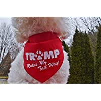 Custom Handmade TRUMP Makes My Tail Wag Dog Pet Bandana Tie-on Style MAGA Pet Scarf for Trump Supporters, Small and Large Sizes, Made in USA