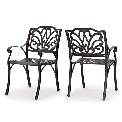 GDF Studio Calandra | Cast Aluminum Outdoor Dining Chairs | Set of 2 | Perfect for Patio | in Bronze