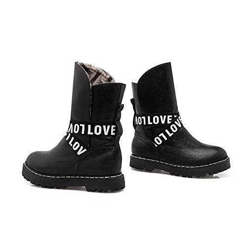 AmoonyFashion Womens Round Closed Toe Low-Top Kitten-Heels Solid PU Boots Black fZJ19EtB