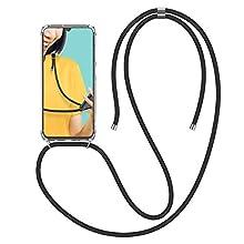 CE-Link Funda para Samsung Galaxy A70 Fundas con Banda de Silicona Carcasa y Estuche Rígido Cubierta Transparente con Collar Correa de Cuello Cadena Cordón Cover - Negro