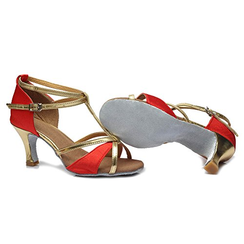HROYL Damen Latin Dance Schuhe Satin Ballroom W7-W09 rot
