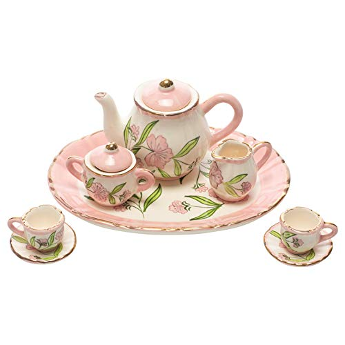 Beautiful Peony Flower Glossy Pink 6 x 4 Porcelain Ceramic Tea Service Set (Creamer Pink Flower)