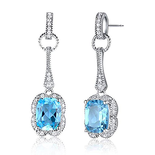 Sterling Silver Natural Swiss Blue Topaz Cushion Cut March Birthstone Drop Dangle Earrings for Women