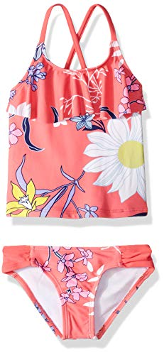 Kanu Surf Big Girls' Charlotte Flounce Tankini Beach Sport 2-Piece Swimsuit, Paige Coral Floral, 10