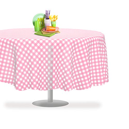 Pink Checkered Gingham 12 Pack Premium Disposable Plastic Tablecloth 84