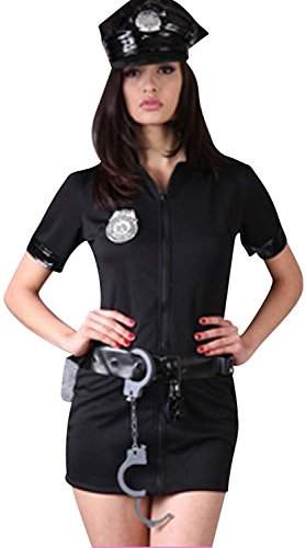 [Sexy Police Uniform Traffic Cop Halloween Costume Fancy Dress Outfit (XL)] (Costumes For Women Cop)