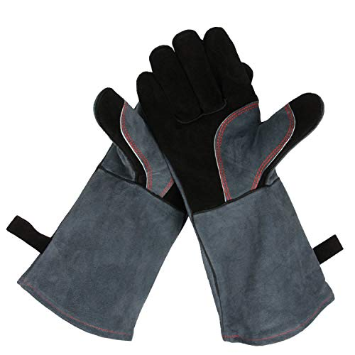 es, 932°F Heat Resistant Leather Welding Glove with Long Sleeve for Men and Women (Black-Gray, 16-inch) ()