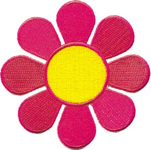 FLOWERS MEDIUM NEON DAISY, Officially Licensed, Iron-On / Sew-On, Embroidered -